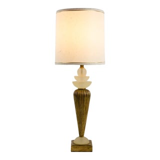 Mid-Century Modern Frosted Lucite and Gold Tone Table Lamp For Sale