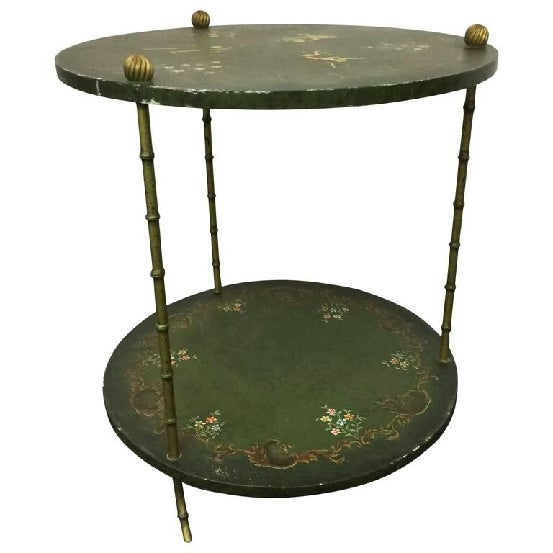 A beautiful, Italian, two-tier, faux bamboo, brass side table decorated with Monkeys, circa 1960.