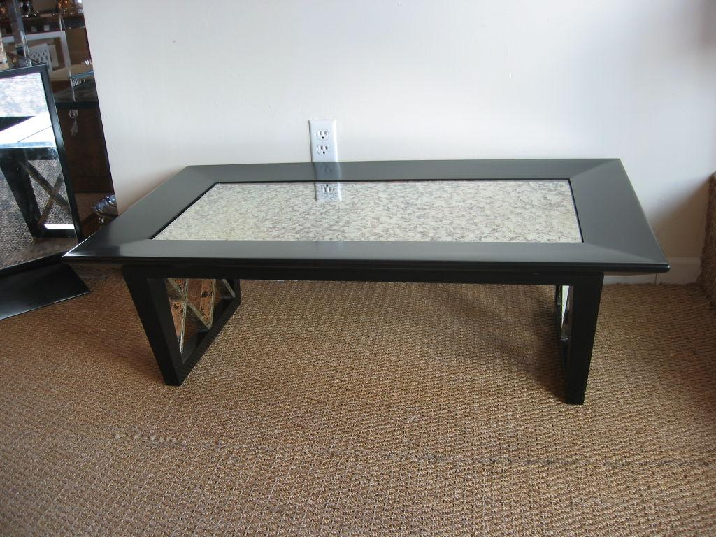 Mid Century Modern Black Satin X Frame Cocktail Table With Eglomise  Mirrored Top For Sale