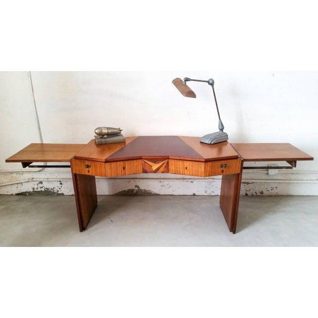 Saddier et Fils 1920s Saddier French Art Deco Gull Wing Desk For Sale - Image 4 of 11