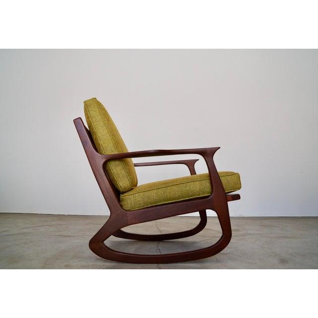 Green Danish Modern Ib Kofod Larsen Rocking Chair For Sale - Image 8 of 13