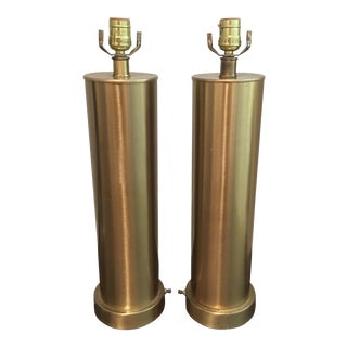 Vintage Mid Century Brass Tube Lamps - a Pair