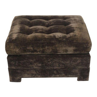 Large Square Deep Bronze Velvet Upholstery Tufted Upholstery Ottoman Footstool For Sale