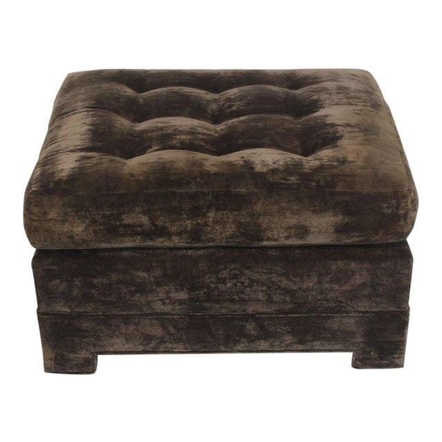 Large Square Deep Bronze Velvet Upholstery Tufted Upholstery Ottoman Footstool For Sale