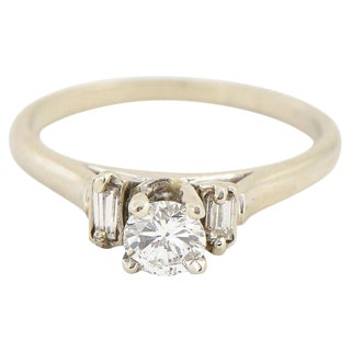 Diamond & 14k White Gold Solitaire Ring For Sale