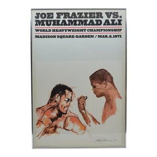 1970s Vintage Leroy Neiman Framed Original Muhammad Ali vs. Joe Frazier Heavyweight Boxing Fight Poster W/ Artwork For Sale