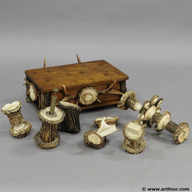 Wood An Elaborate Handmade Black Forest Style Smoking Set Ca. 1900 For Sale - Image 7 of 8