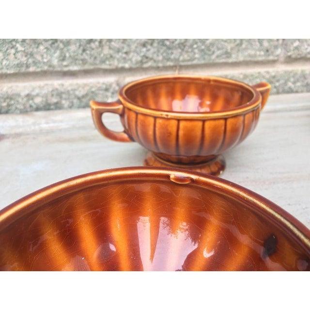 Vintage Amber Pedestal Bowls - Set of 4 - Image 7 of 8