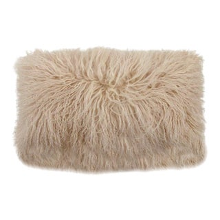 Tibetan Lamb Pillow in Sand 22x12 For Sale