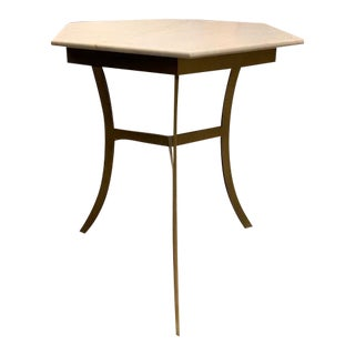 Transitional Hickory Chair Sienna Side Table With Stone Top For Sale