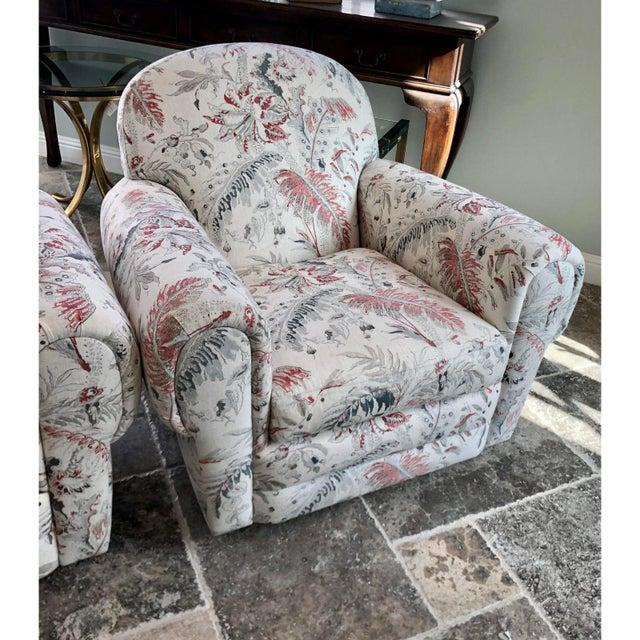 Jacobean Linen Upholstery Swivel Club Chairs - a Pair