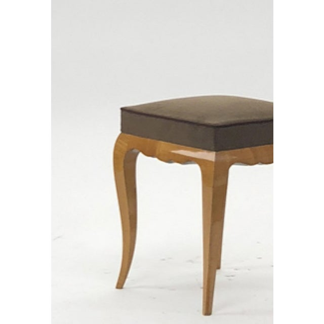 1950s Rene Prou Refined Solid Sycamore Pair of Stools For Sale - Image 5 of 6