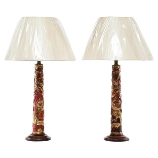 19th Century Lawrence & Scott Carved Candlestick Table Lamps - a Pair For Sale