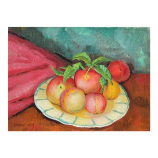 """Frederick Pomeroy """"Still Life With Peaches"""" Oil Painting on Canvas, Mid 20th Century For Sale"""