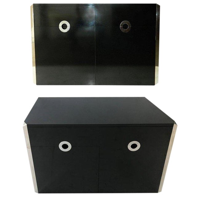 Mario Sabot Black Laminate Sideboards - A Pair For Sale