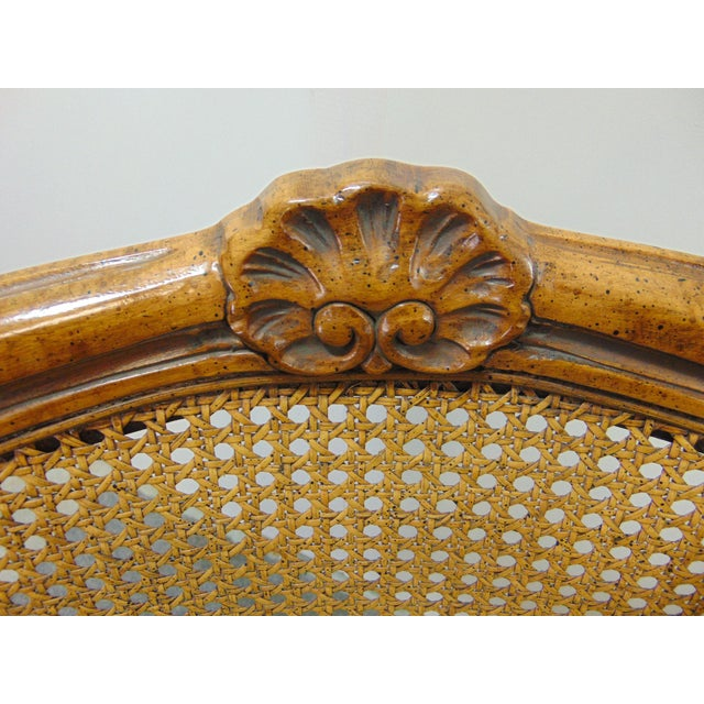 Drexel Heritage Drexel Louis XV Style Carved Fruitwood Caned Arm Chairs - a Pair For Sale - Image 4 of 8