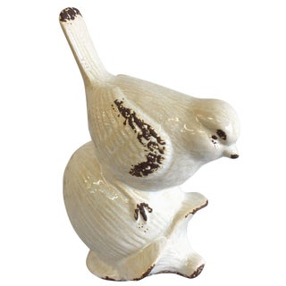 White Bird on an Acorn Figurine