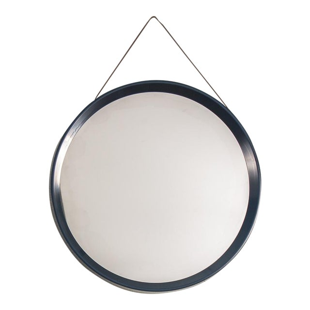 Danish Modern Navy Blue Circular Wall Mirror For Sale