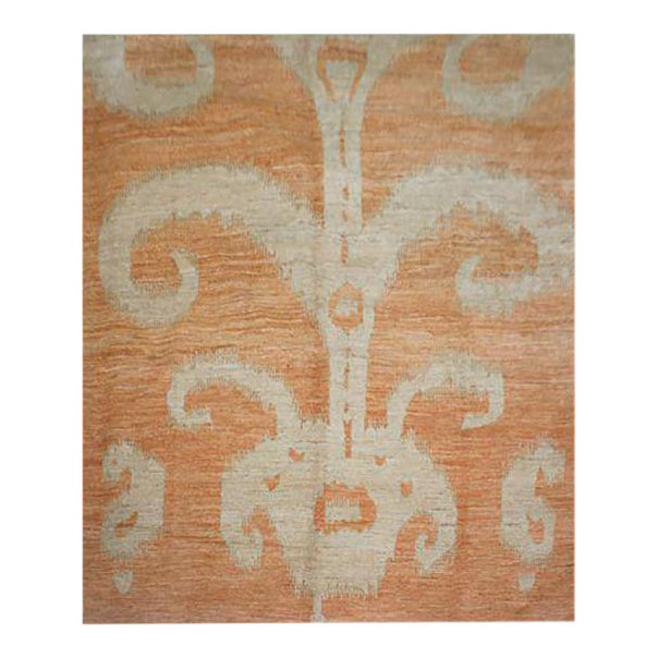 """Hand Knotted Ikat Rug by Aara Rugs Inc. 9'2"""" X 11'9"""" For Sale"""