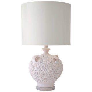 Mid-Century Coral Glazed Ceramic Jar Form Table Lamp For Sale