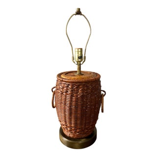 Vintage Wicker Ginger Jar Table Lamp For Sale
