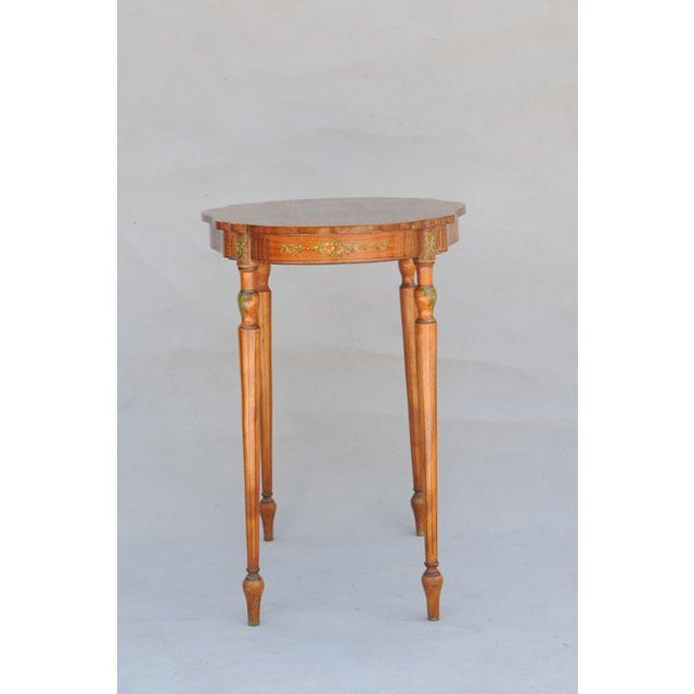 Exquisite Hand Painted Satinwood Table For Sale In West Palm - Image 6 of 10