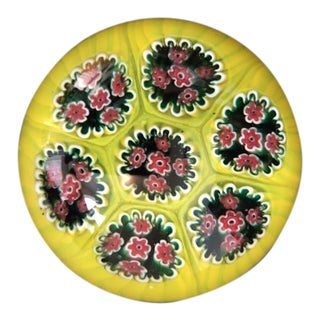 1960s Millefiori Yellow & Red Murano Blown Glass Paperweight For Sale