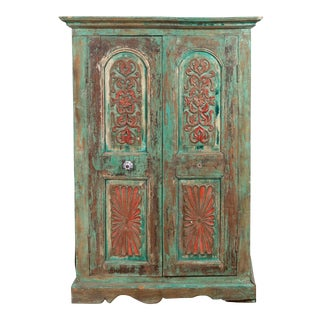 Indian Distressed Green Painted Wooden Wardrobe Cabinet with Red Accents For Sale