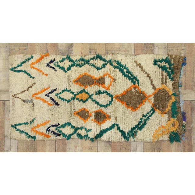 Green 1970s Vintage Berber Moroccan Azilal Rug - 2′5″ × 4′10″ For Sale - Image 8 of 10