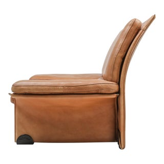 Thick Camel Leather Club Chairs by Titiana Ammanati & Giampiero Vitelli for Brunati - 1970s For Sale