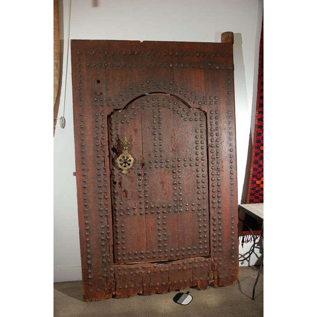 Brown Moroccan Ryad Studded Moorish Antique Door For Sale - Image 8 of 8