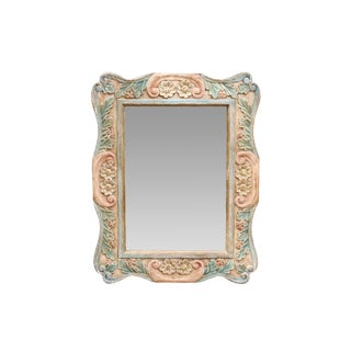 Carved Wooden Wall Mirror For Sale