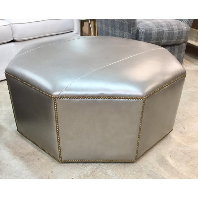 2010s Century Furniture Cole Leather Ottoman For Sale - Image 5 of 5