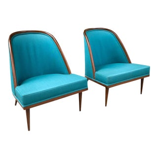 Pair, Mid Century Spoon Back Club Chairs For Sale