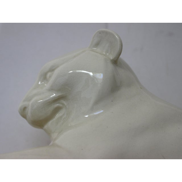 Art Deco 1930's White Panther Sculpture For Sale - Image 9 of 13