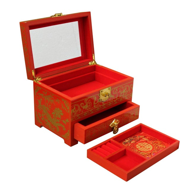 Chinese Oriental Lacquer Mirror Jewelry Chest Box For Sale - Image 4 of 7