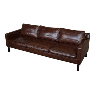 Rare Edward Wormley for Dunbar Leather Sofa For Sale