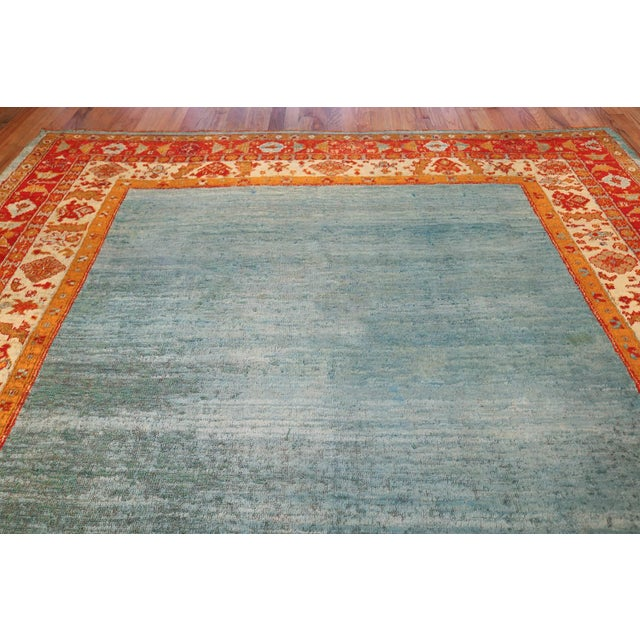 Antique Turkish Angora Oushak Light Blue Open Field Rug - 10′3″ × 12′9″ For Sale - Image 4 of 11