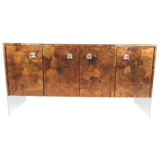 Patchwork Copper and Lucite Sideboard in the Style of Milo Baughman For Sale