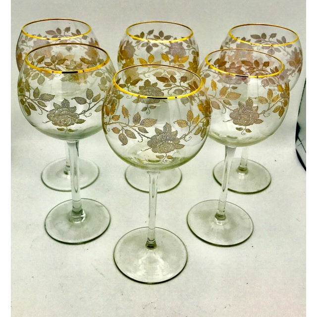 Early 20th Century Early 20th Century Antique French Baccarat Gold Encrusted Needle Etch Crystal Hock Glasses- Set of 6 For Sale - Image 5 of 13