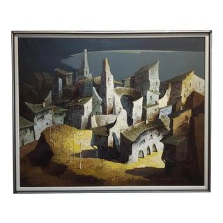 Esteban Escartin - Surrealistic Spanish Town -Oil Painting For Sale