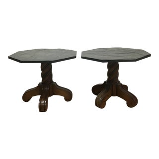 1970s Slate Top Side Accent Tables - A Pair