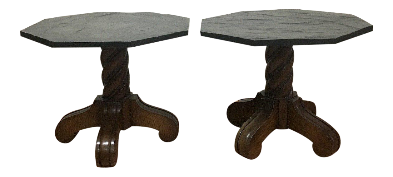 1970s Slate Top Side Accent Tables   A Pair   Image 1 Of 10