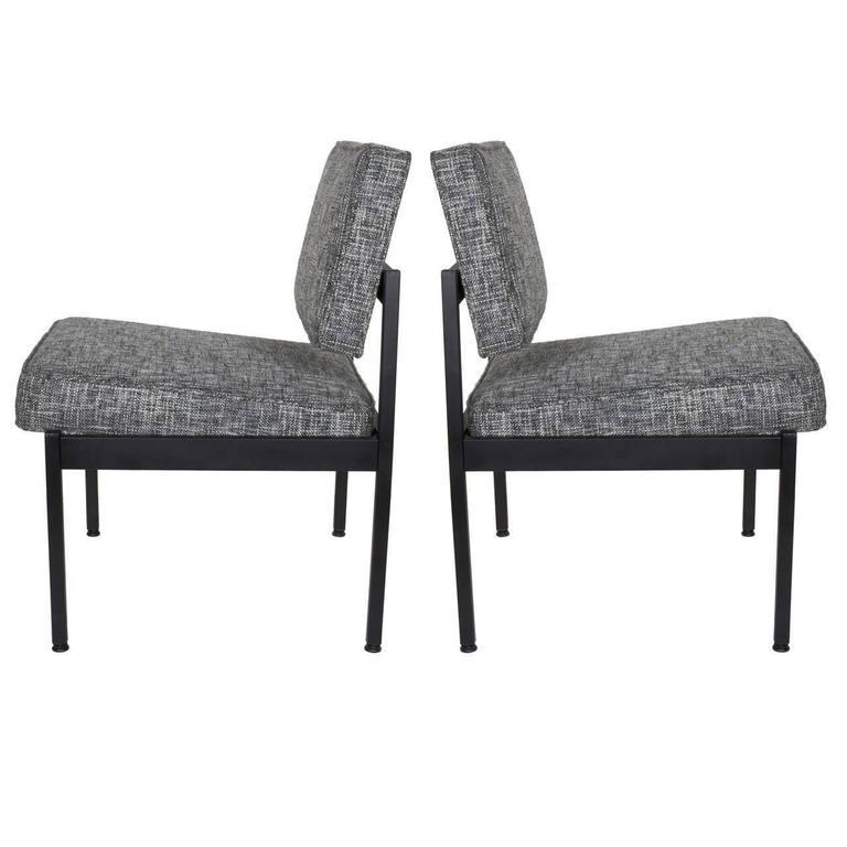 White Pair Of Mid Century Modern Easy Chairs In The Style Of Florence Knoll  For