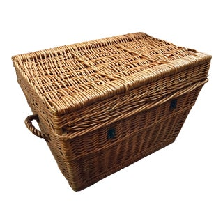 French Antique Wicker Trunk