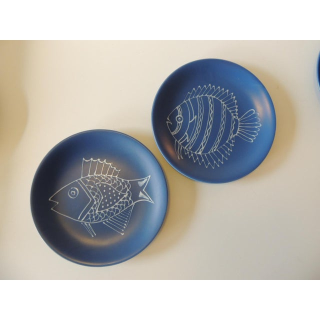 1990s Set of (8) Blue and White Fish Plates by Longchamp For Sale - Image 5 of 9