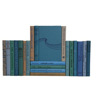 Midcentury Novels in Blue, Green & Tan - Set of 20