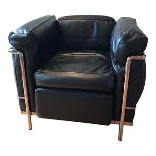 Le Corbusier Lc2 Petit Modele Black Leather Armchair For Sale