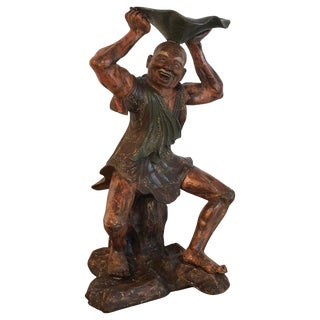 18th Century English Wood Carved Standing Chinese Attendant With Lotus Bowl For Sale
