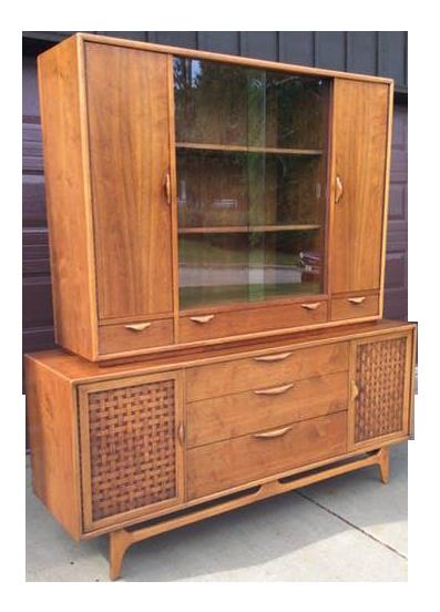Amazing Mid Century Modern Lane Perception Two Piece China Cabinet